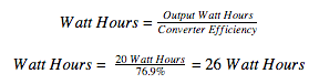 converter efficiency watt hours formula