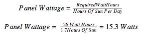 minimum solar panel size formula