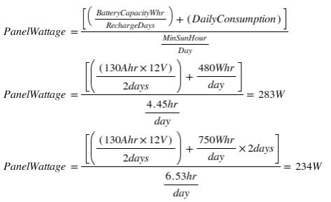 solar panel size formula