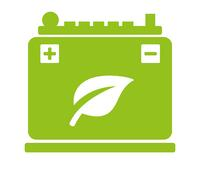 green animated battery with a leaf icon in the middle