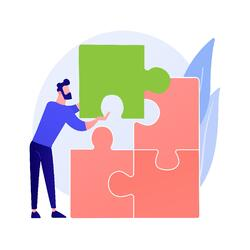 animated man placing an oversized puzzle piece to complete a puzzle