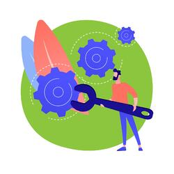 animated man with an oversized wrench and several gears