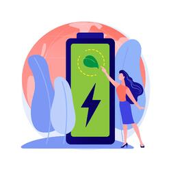 animated woman pointing at a leaf on a large battery icon