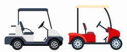 red golf car in front of a white golf car