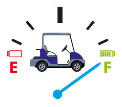 animated fuel gauge pointing at full with a golf car in the middle of the display