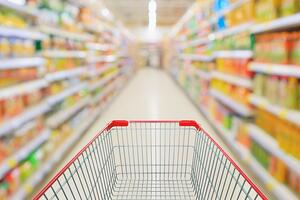supermarket aisle with a shopping cart and blurred aisles