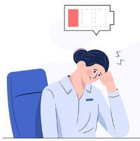 animated tired woman with low battery icon