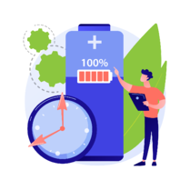 animated man pointing towards a large full battery icon